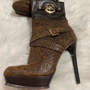 Michael Kors Brown Leather Stiletto Ankle Boots